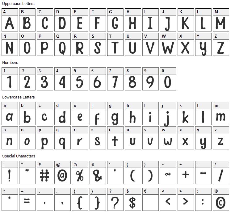 Joy Days Font Character Map