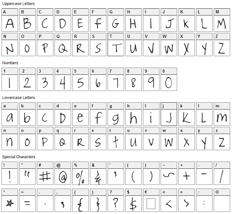 Joyful Juliana Font Character Map