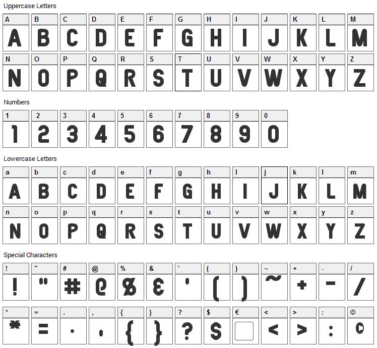 Joystick Font Character Map