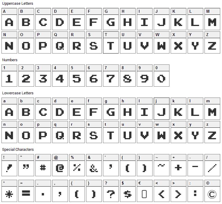 Joystix Font Character Map