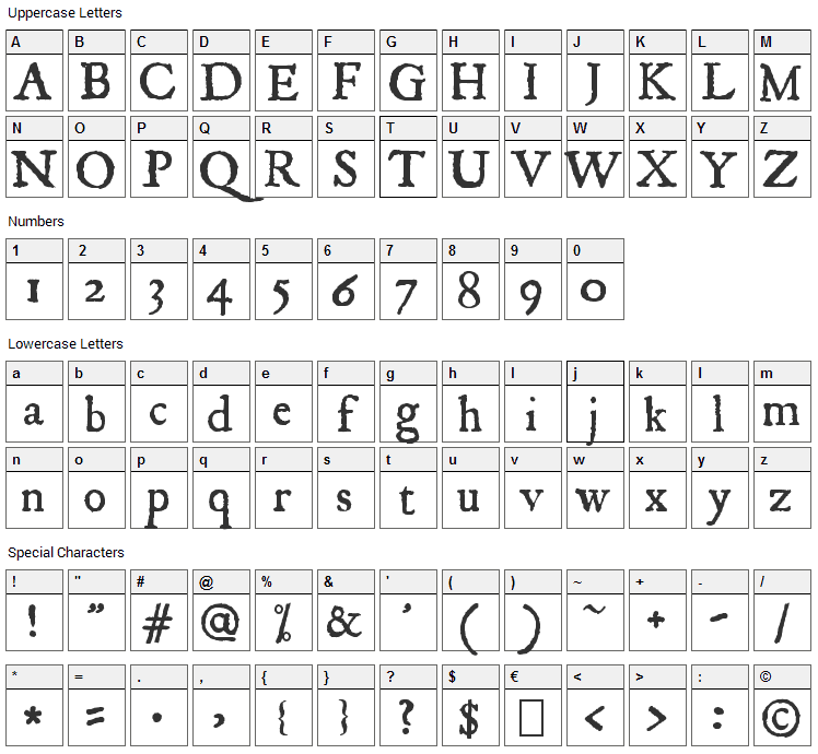 JSL Ancient Font Character Map
