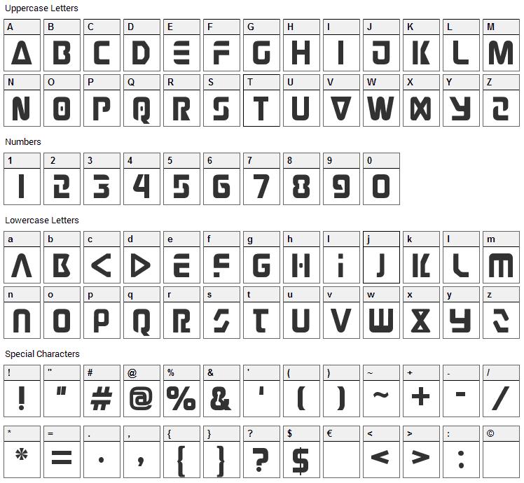 Judge Font Character Map