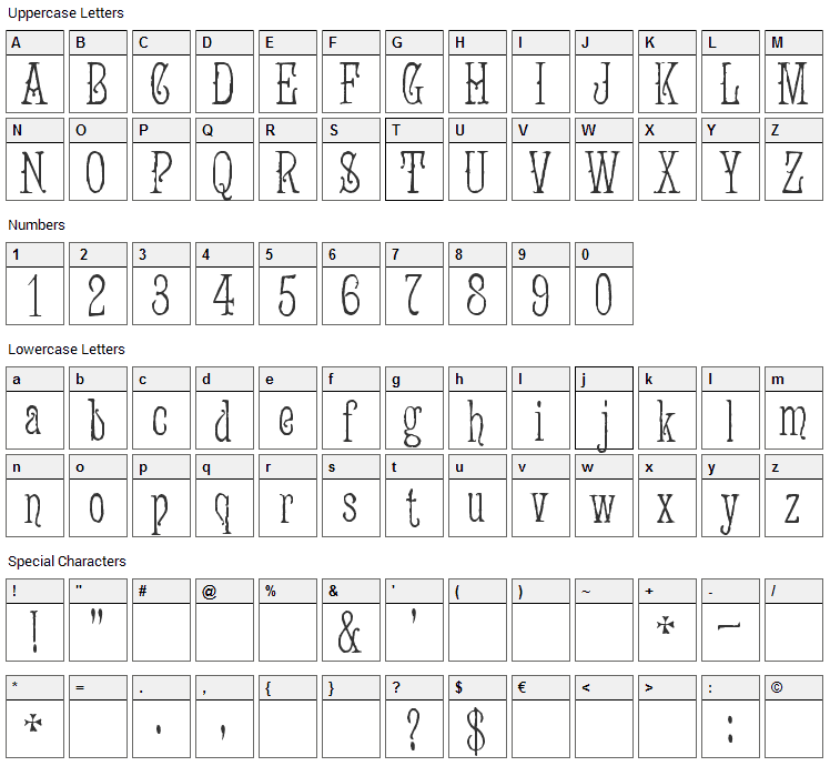 Jugend Font Character Map