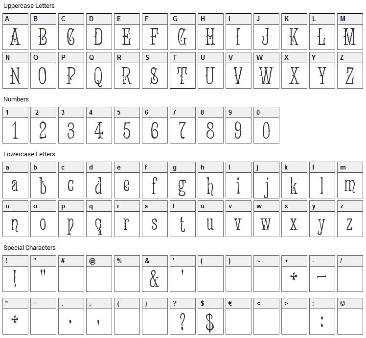 Jugend WF Font Character Map
