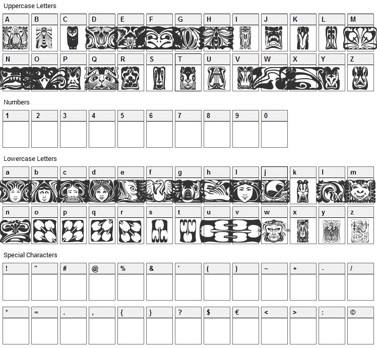 Jugendstil Ornamente Font Character Map