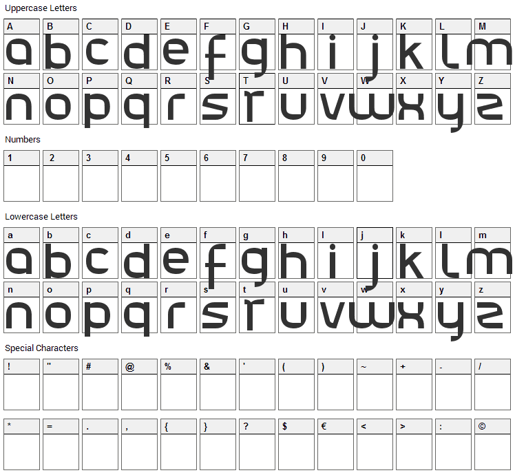 Julie01 Font Character Map