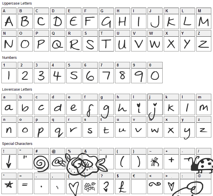 Julies Font Character Map
