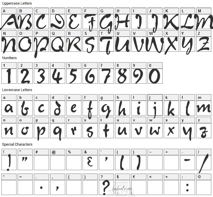 Juliet Font Character Map