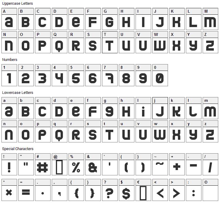 Jumbo Font Character Map