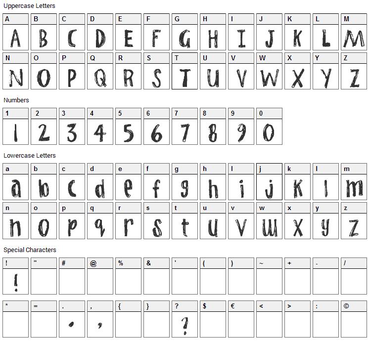 Jump Start Font Character Map