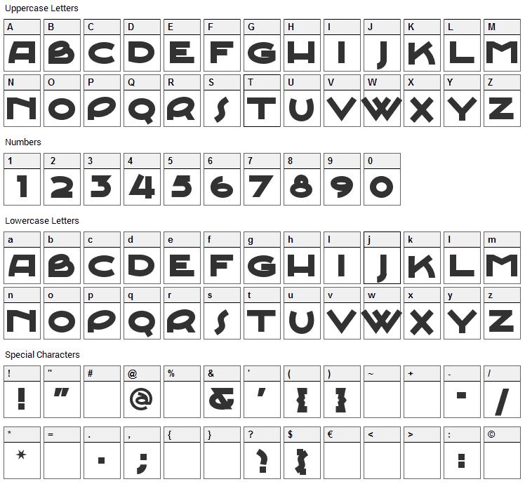 Junebug Stomp Font Character Map