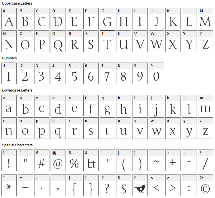 Junge Font Character Map