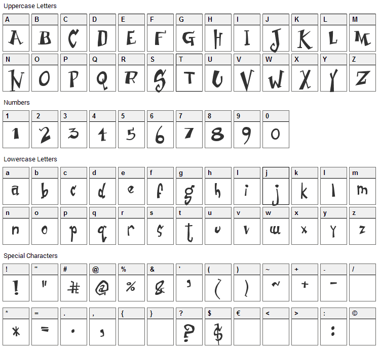 Junior & Stinky Font Character Map