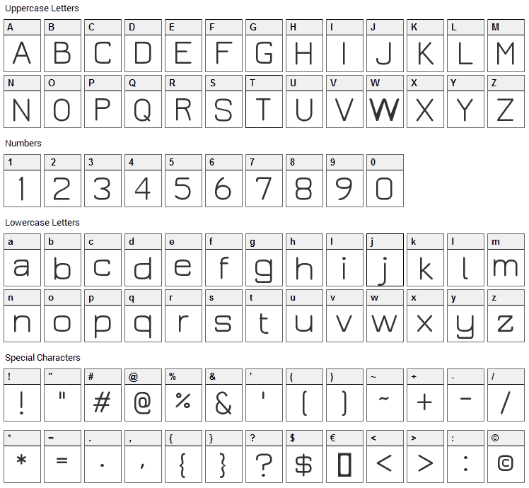 Jura Font Character Map
