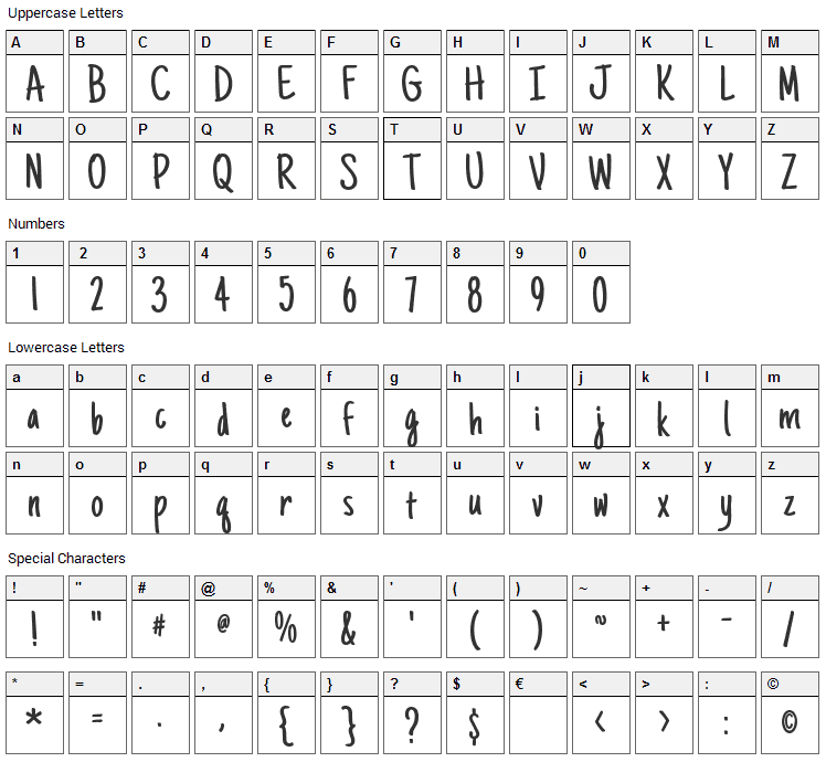 Just Another Hand Font Character Map