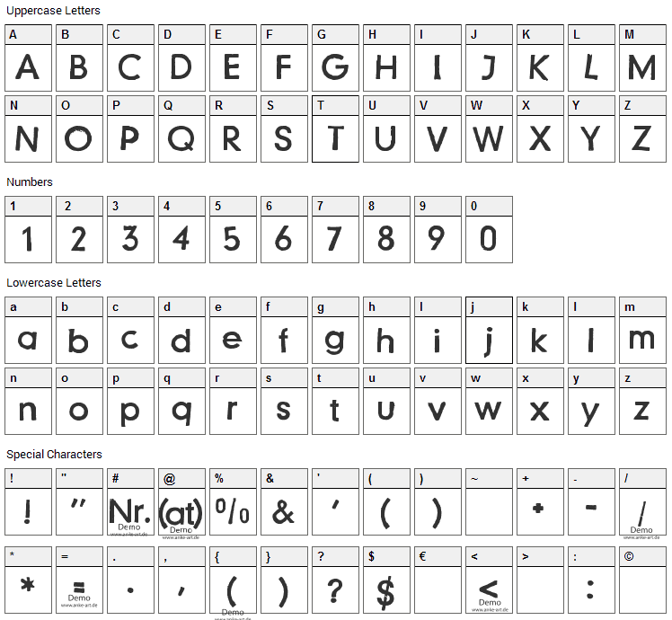 Just another stamp Font Character Map