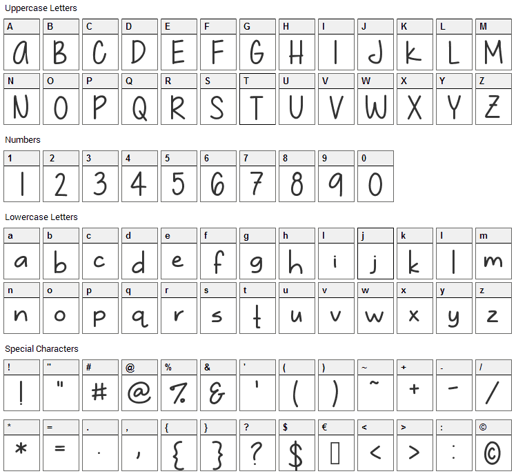 Just Gotta Smile Font Character Map