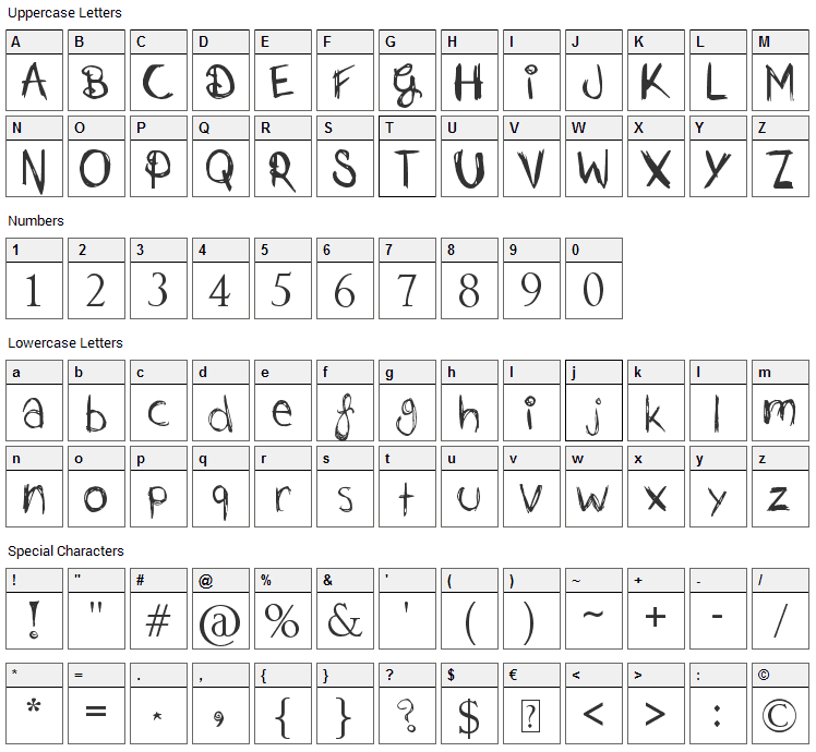 Just Jessie Font Character Map