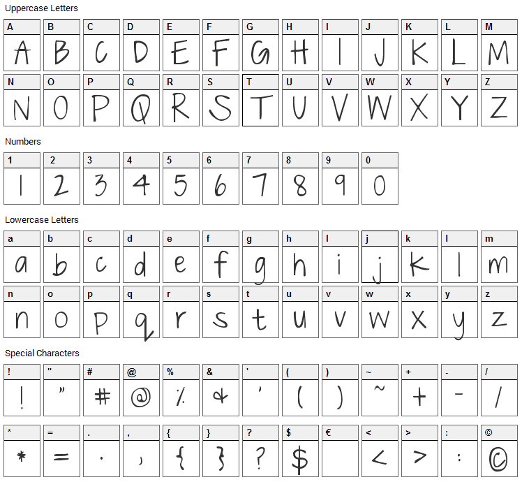 Just The Way You Are Font Character Map