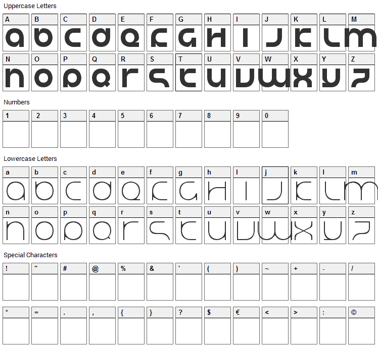 Justify Lazy Font Character Map