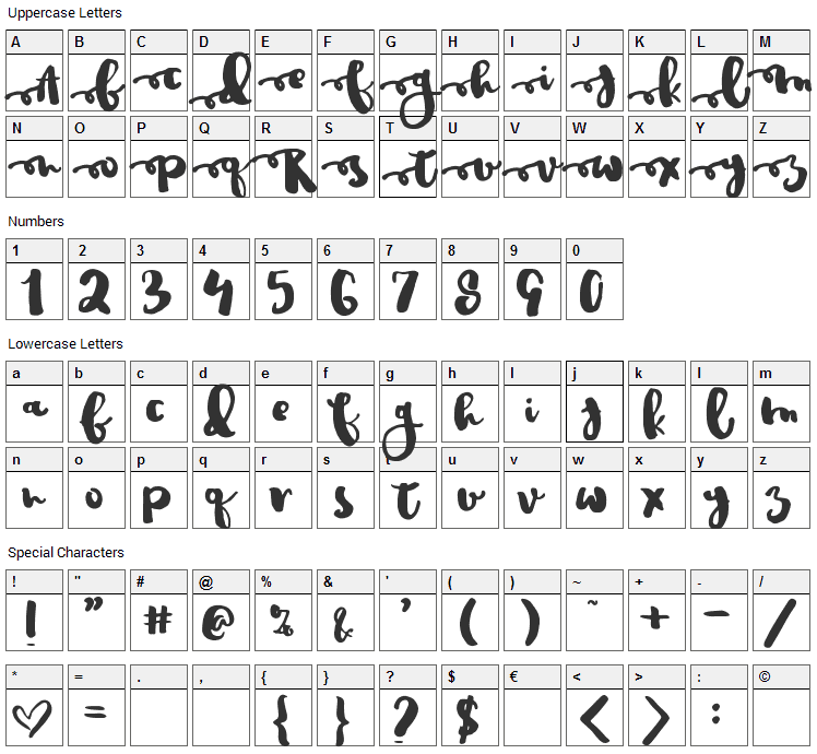 Justin Road Font Character Map