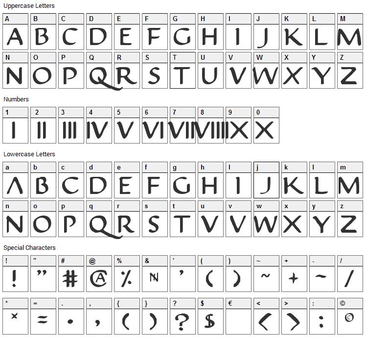 Justinian Font Character Map