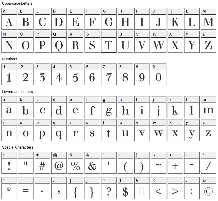 Justus Font Character Map