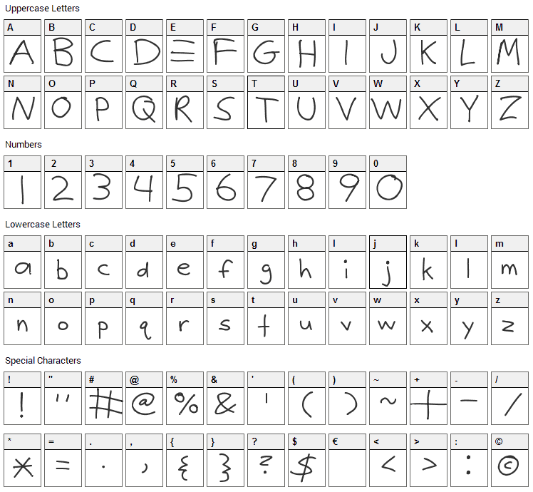 Justy1 Font Character Map