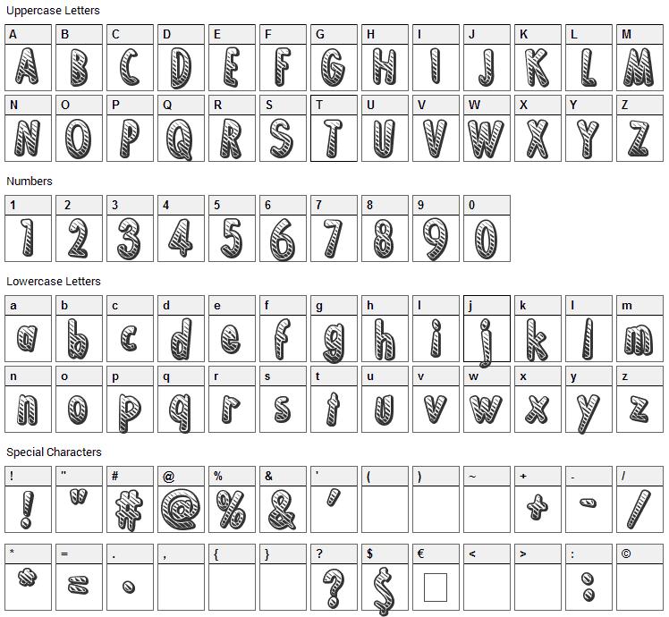 Ka-Boing! Font Character Map