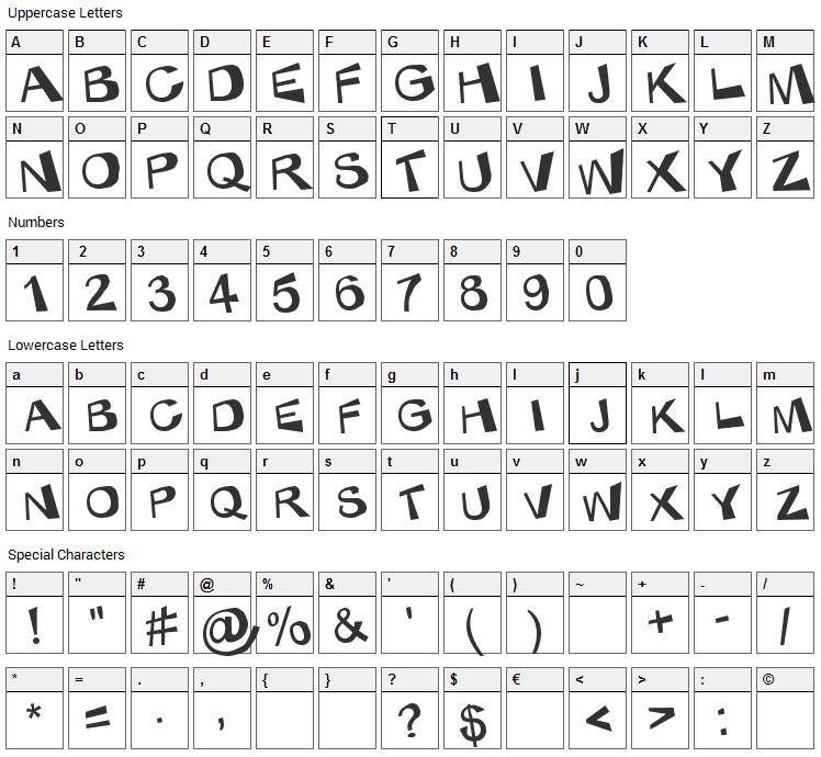 KaBlam  Font Character Map