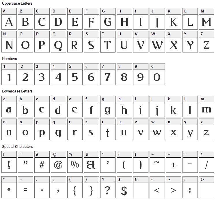 Kabos Gyula Font Character Map