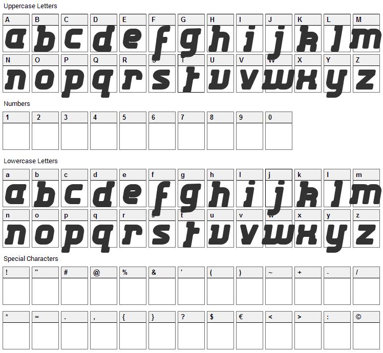 Kabys Font Character Map