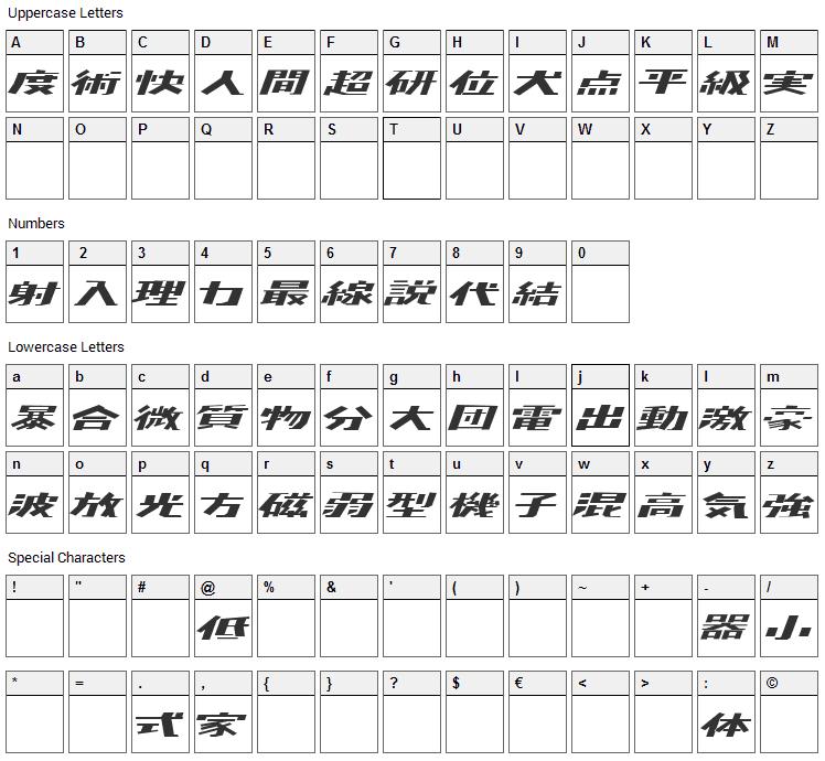 Kaden Font Character Map