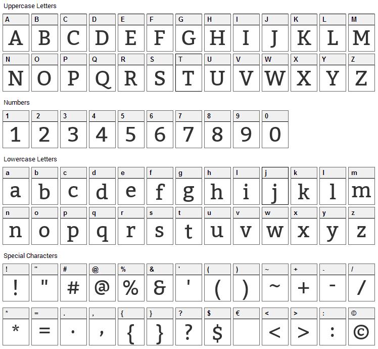 Kadwa Font Character Map