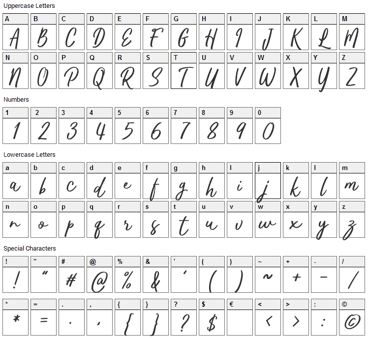 Kaftice Font Character Map