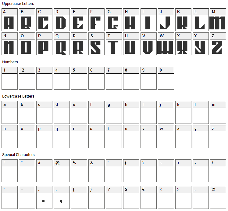 Kahnstruct Font Character Map