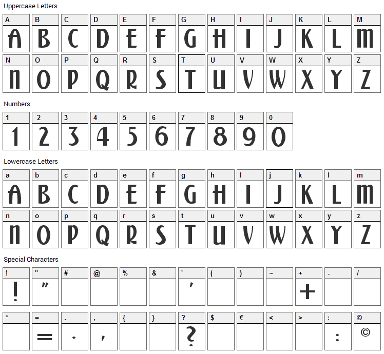 Kalenderblatt Grotesk Font Character Map