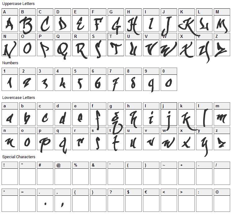 KaliGraff Font Character Map