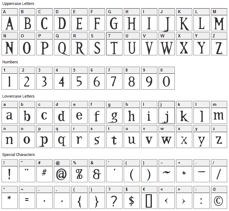 Kallamar Font Character Map