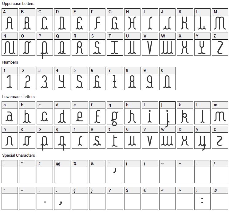 Kamalo Font Character Map