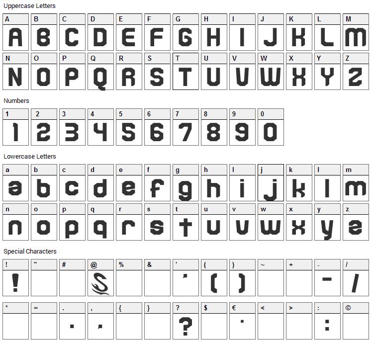 Kamone 6 Font Character Map