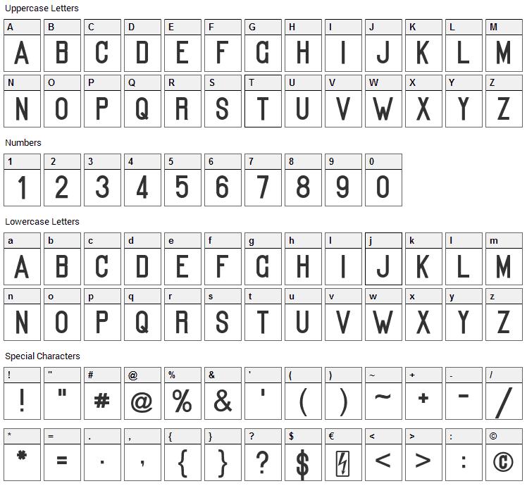Kanalisirung Font Character Map