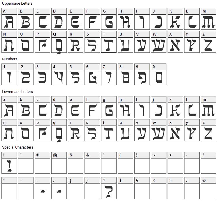 Kanisah Font Character Map