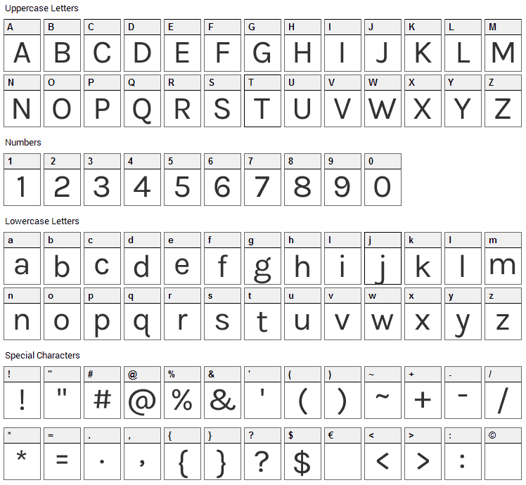 Karla Font Character Map