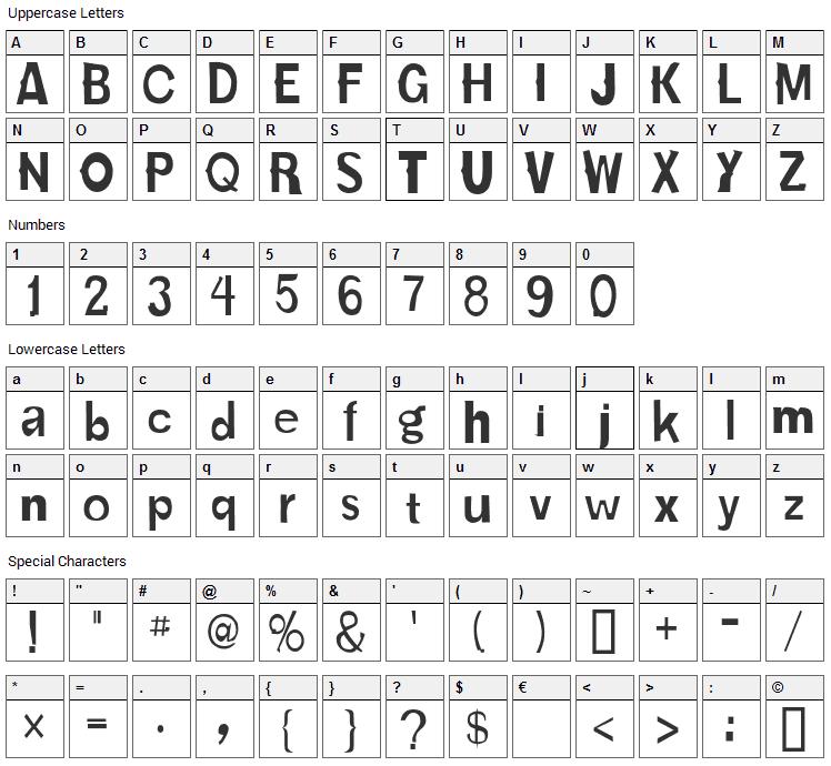 Karloff Bold Font Character Map