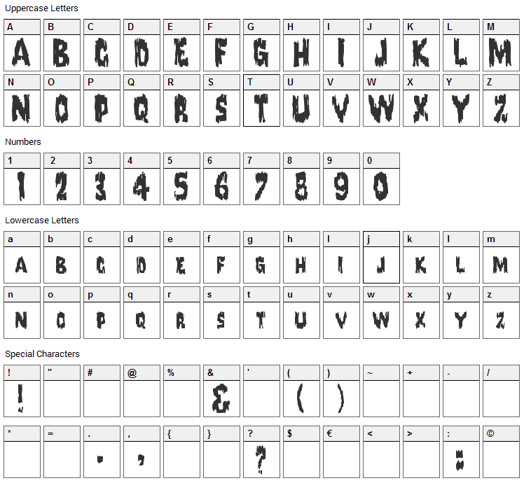 Karloff Font Character Map