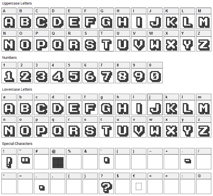 Karmatic Arcade Font Character Map