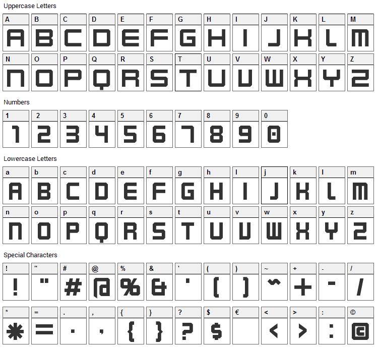 Karnivore Font Character Map