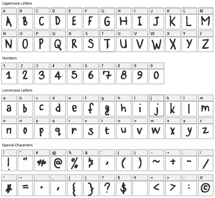 Karz 001 Font Character Map
