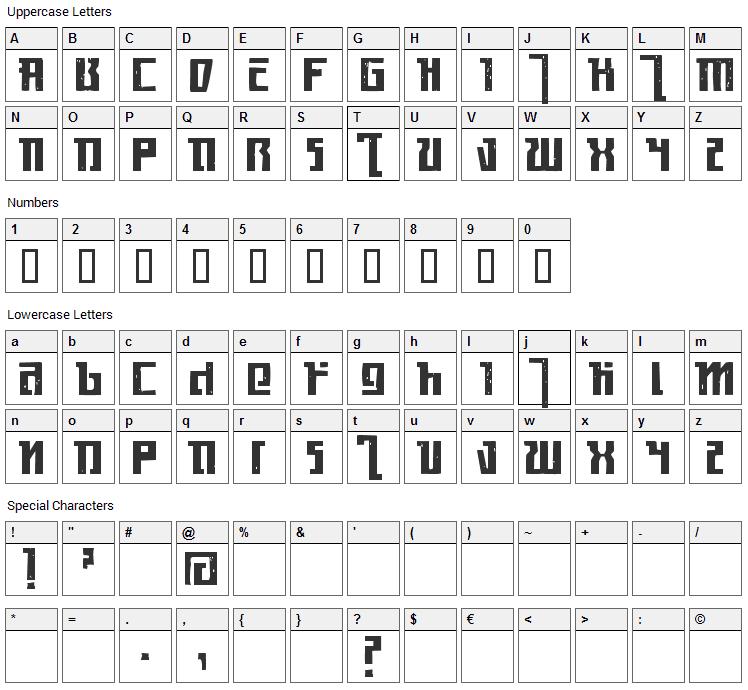 Kasikorn Font Character Map